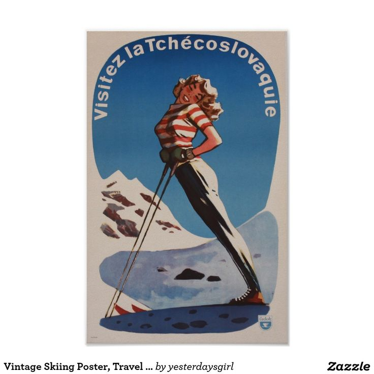 Vintage Skiing Poster, Travel Czechoslovakia Poster