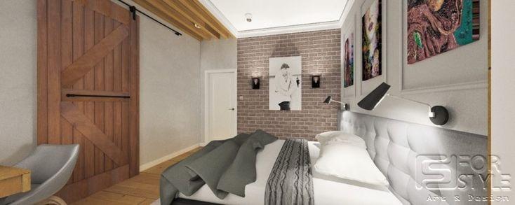 sypialnia, sypialnia industrialna, sypialnia z cegłą, sypialnia z przesuwnymi drzwiami, sztukateria w sypialni, sztukateria, belki, belki w sypialni, toaletka, toaletka w sypialni, wezgłowie tapicerowanie, wezgłowie, szare wezgłowie, industrialne drzwi, drzwi do garderoby, nowoczesna sypialnia, szarość,