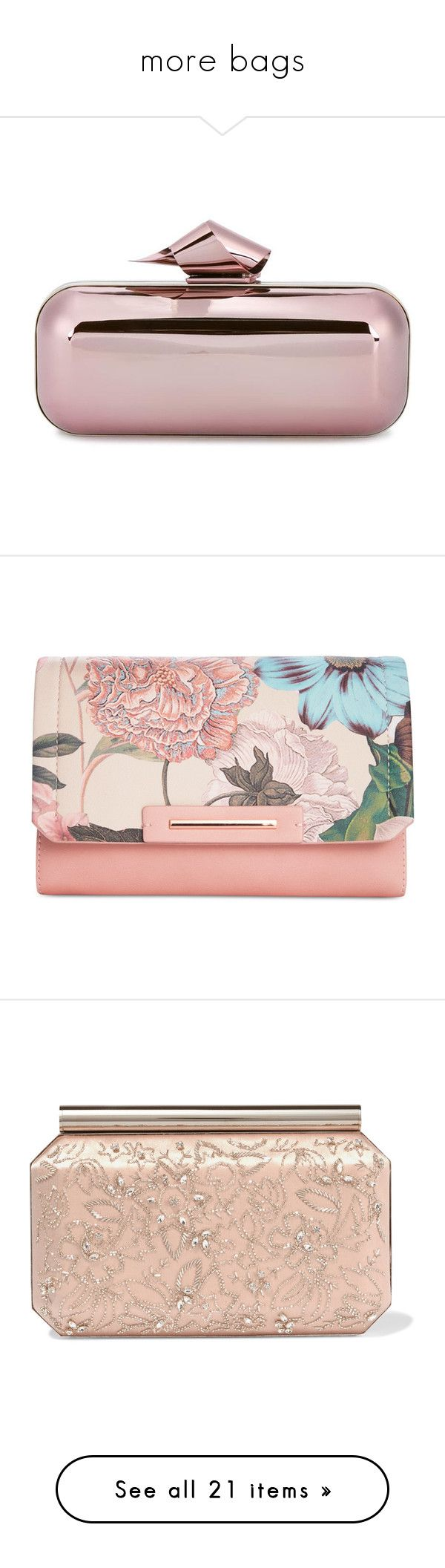 """""""more bags"""" by lustydame ❤ liked on Polyvore featuring bags, handbags, clutches, blue, genuine leather handbags, leather purses, kiss-lock handbags, blue handbags, blue leather handbags and pink metallic handbag"""