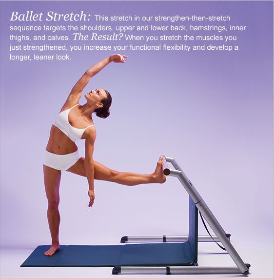Fluidity Ballet Stretch: This stretch in our strengthen-then-stretch sequence targets the shoulders, upper and lower back, hamstrings, inner thighs, and calves. The Result? When you stretch the muscles you just strengthened, you increase your functional flexibility and develop alonger, leaner look.