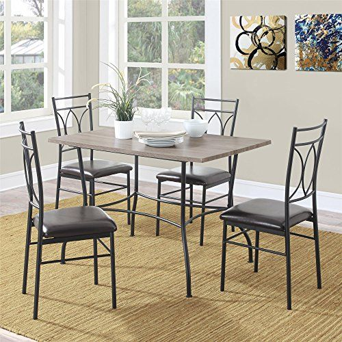 Set of 4 chairs and a matching table Beautiful rustic wood top in a light finish Black metal table and chair frames