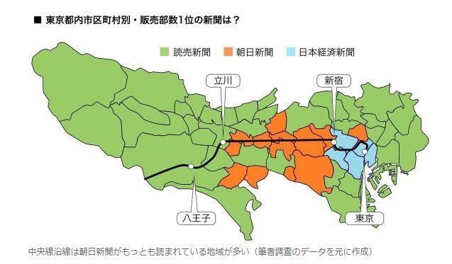 東京都内新聞購読分布