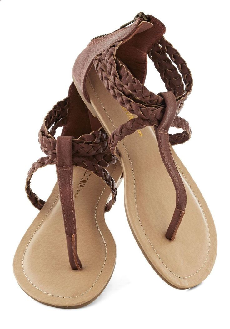 Sandals Summer Step Up to the Plait Sandal - Brown, Solid, Braided, Beach/Resort, Boho, Vintage Inspired, 70s, Summer, Flat - There is nothing more comfortable and cool to wear on your feet during the heat season than some flat sandals.