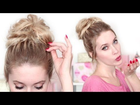 Perfect MESSY BUN in 2 minutes ★ Medium long hair tutorial back to school - YouTube