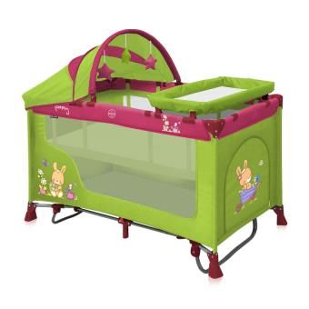 Lit parapluie bébé avec mécanisme balançoire + matelas Lorelli Nanny 2+ Bunnies pliant/pliable/voyage