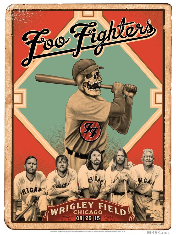 Emek Foo Fighters Chicago Wrigley Field Poster Release