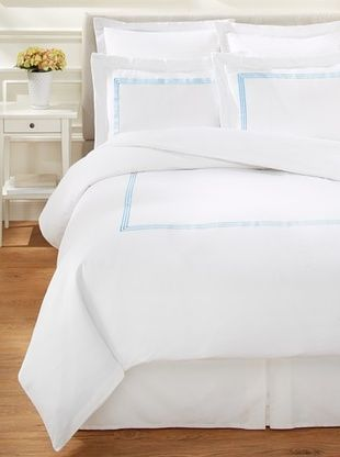 65% OFF Westport Linens 3 Line Embroidery Duvet Set (Blue)