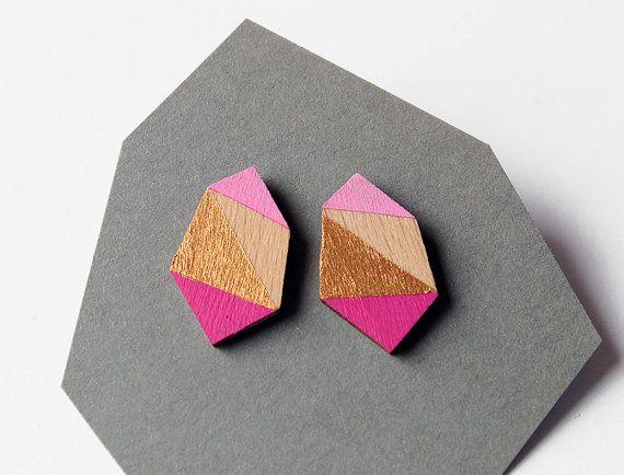 Geometrische diamant geo vorm stud oorbellen hete roze