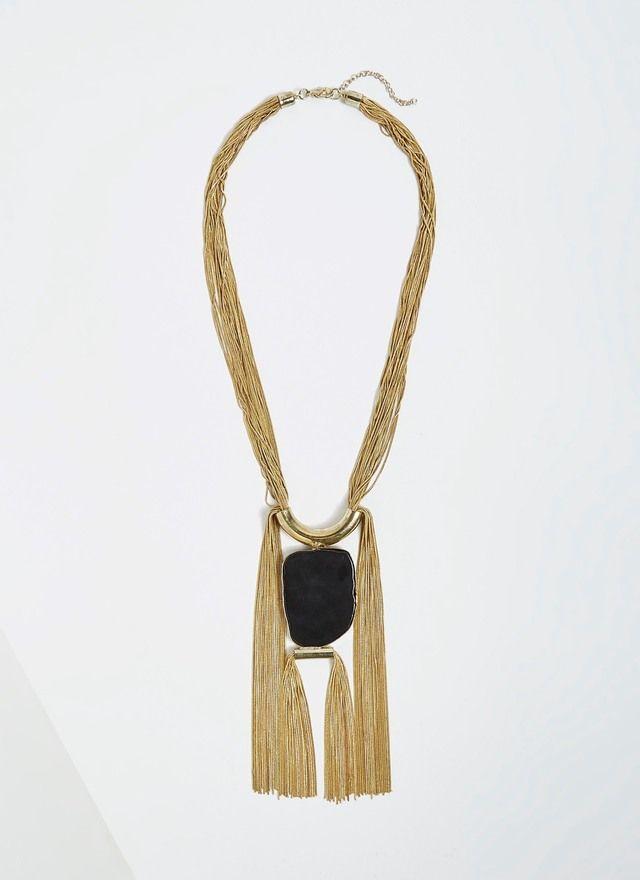 Collar dorado con cuarzo natural - Collares | Adolfo Dominguez shop online