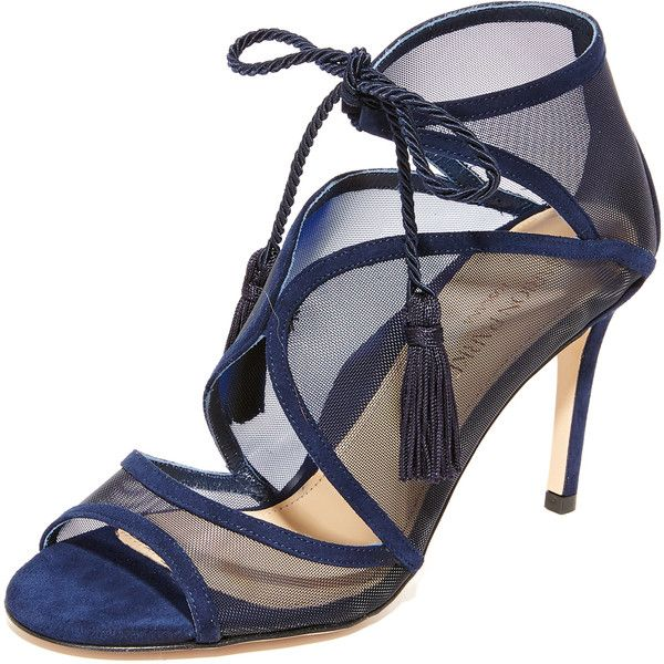 Marion Parke Lita Tie Sandals ($605) ❤ liked on Polyvore featuring shoes, sandals, navy, tassel sandals, lace up shoes, laced up shoes, arch support shoes and navy blue shoes