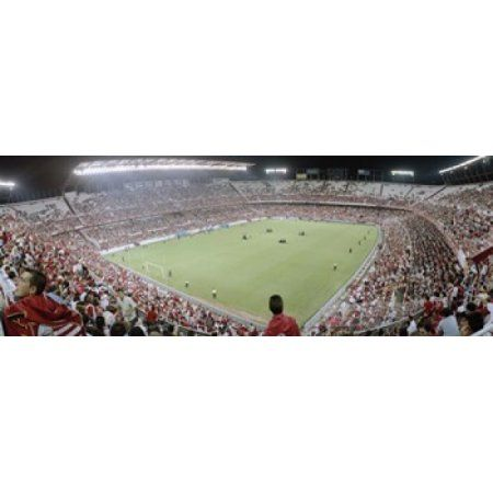 Crowd in a stadium Sevilla FC Estadio Ramon Sanchez Pizjuan Seville Seville Province Andalusia Spain Canvas Art - Panoramic Images (36 x 13)
