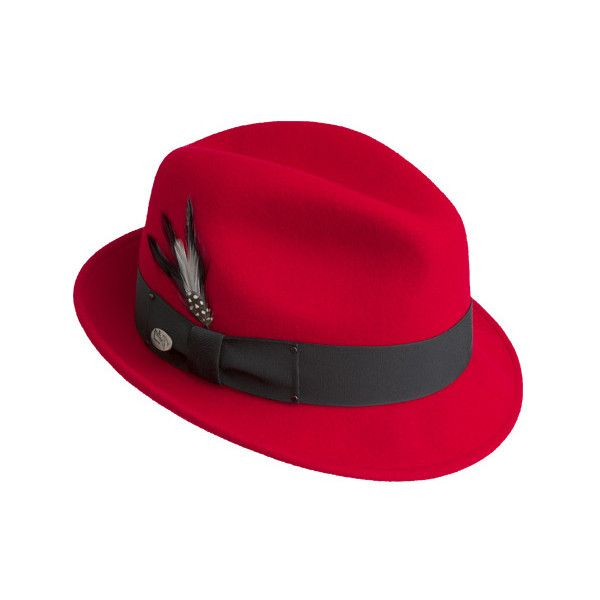 Men's Bailey of Hollywood Tino 7001 ($80) ❤ liked on Polyvore featuring men's fashion, men's accessories, men's hats, red, mens wide brim fedora hats, mens wide brim fedora, mens fedora hats and mens hats fedora
