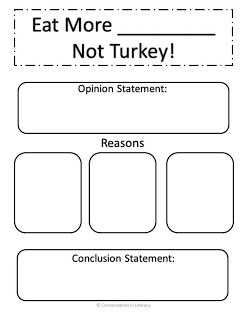 "Common Core Classrooms: Let's Talk Turkey!: argument writing...Did this today & they loved it!!!  Persuasive paragraph writing is so much fun with ""OREO"" strategy - opinion, reason, explanation, restated opinion :)"