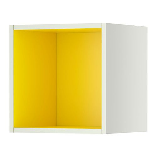 ikea tutemo regal wei gelb 40x37x40 cm kann als abschlussregal an wand oder. Black Bedroom Furniture Sets. Home Design Ideas