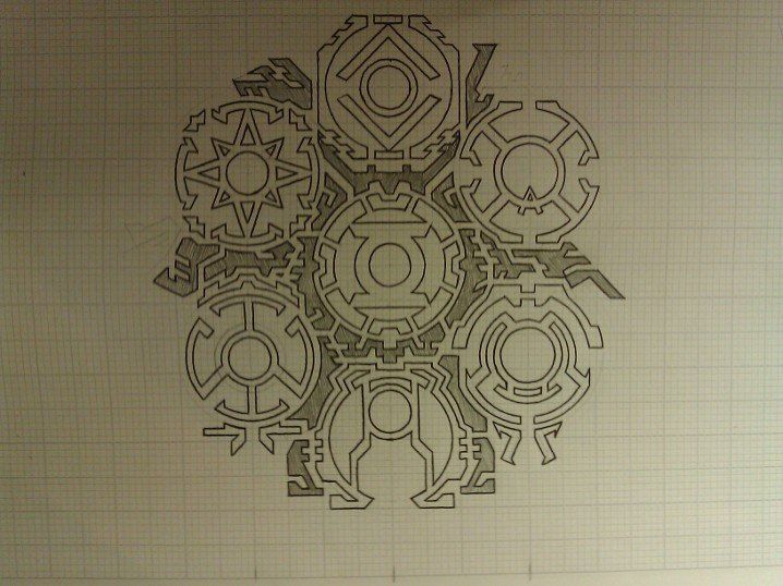 This design is comprised of the 7 lantern corps yellow, red, green, orange, blue, indigo and violet. I've left it unexplored to see the line work better