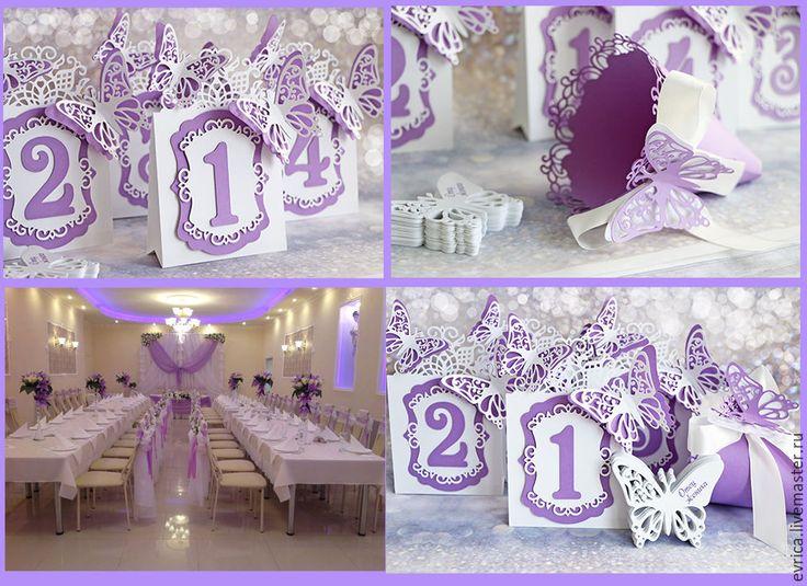 """Купить """"Наваждение"""" номер на стол - сиреневый, свадьба, номер на стол, рассадка гостей, плотная бумага"""