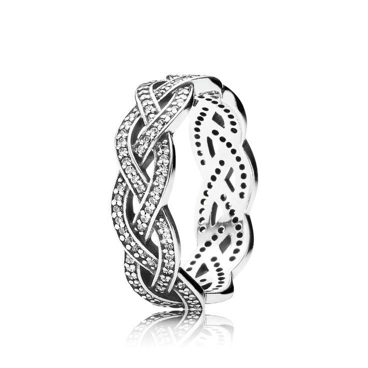 Sprankelende zilveren gevlochten ring | PANDORA eSTORE