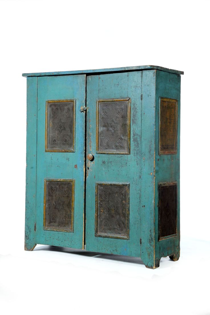 American, 19th century, blue painted poplar pie safe. Two doors with heart and star punched tin panels