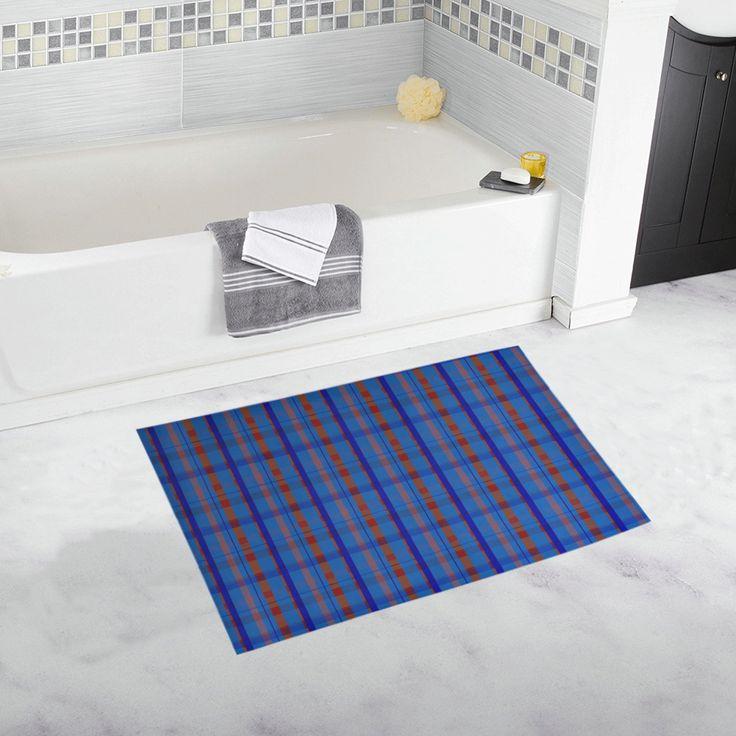 Royal Blue Plaid Hipster Style Bath Rug 20''x 32'' #bathmat #bathrug #mat #rug #plaid #artsadd #blue #family #onlineshopping #style #39 #art #gifts #giftsforher #giftsforhim #homegifts #buybathmats #bathmats #coolbathmat #bathroom #bath #bathroomgifts #homegifts #home #modernhome
