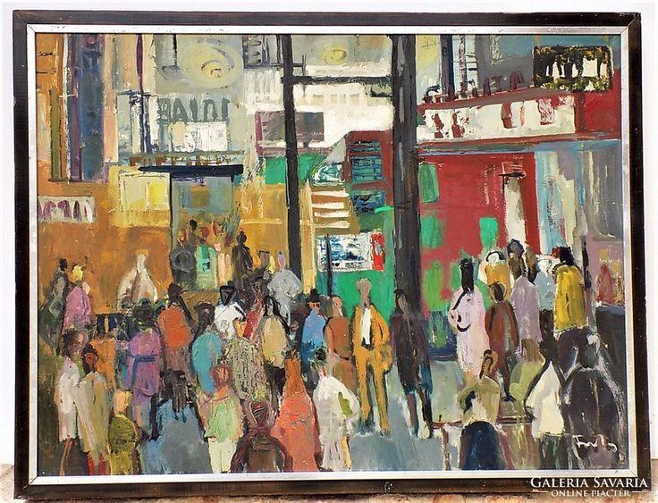 Farkas Lídia (1910-1985) Tavaszi Vásár  olajfestmény 85x65cm