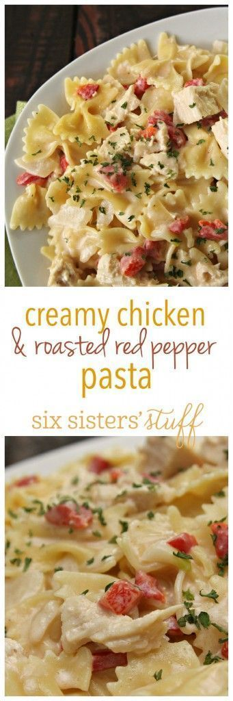 Creamy Chicken & Roasted Red Pepper from SixSistersStuff.com | The best winter dinner recipe your family will love! | Easy Dinner Ideas | Italian Dinner Recipe