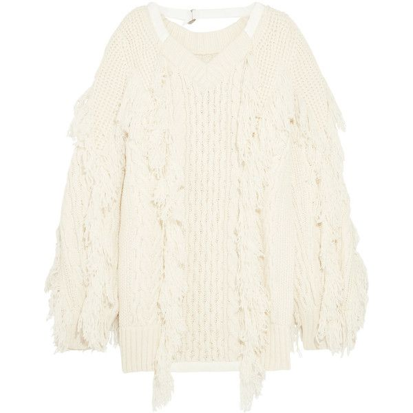 Sacai Fringed cable-knit wool-blend sweater (€1.040) ❤ liked on Polyvore featuring tops, sweaters, white fringe sweater, chunky cable knit sweater, oversized chunky cable knit sweater, slouchy sweaters and oversized cable sweater