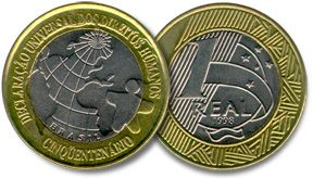 moeda comemorativa do Cinquentenário da Declaração Universal dos Direitos Humanos