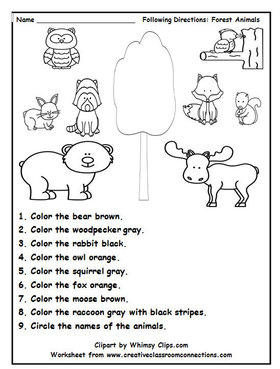 8bb6fa3b148bfaad7e879c6f06bc4253 holiday break forest animal theme preschool 153 best images about listening skills following directions on on instructions worksheet ks1