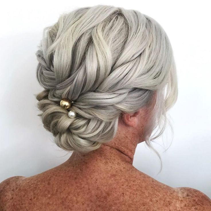 Gorgeous Braided Updo For Gray Hair Tight Braids Up Dos