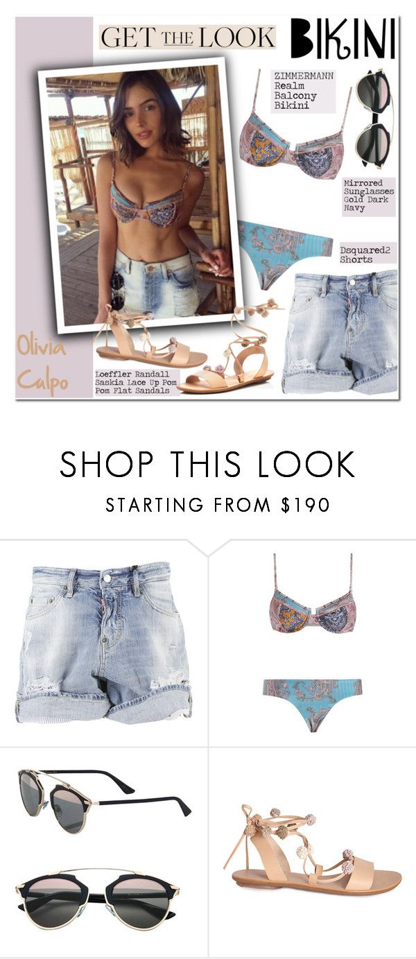 """""""Get the Look: Swimsuit Edition"""" by helenevlacho ❤ liked on Polyvore featuring Dsquared2, Zimmermann, Christian Dior, Rebecca Taylor and Loeffler Randall"""