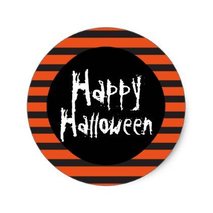 #Happy Halloween Orange Black Striped Spooky Font Classic Round Sticker - #Halloween happy halloween #festival #party #holiday