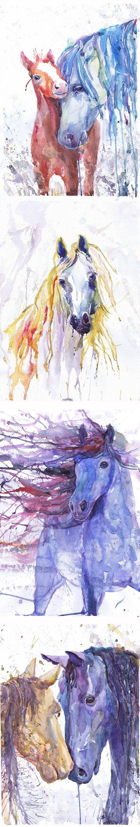 Cheval art un décor équestre aquarelle poulain colt par ValrArt