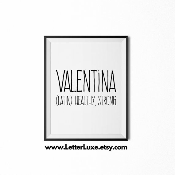 Valentina Name Meaning Art  Printable Baby by LetterLuxePrintables
