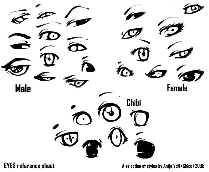 anime eyes reference male: Eyes Reference Sheet :B By Chicoritango