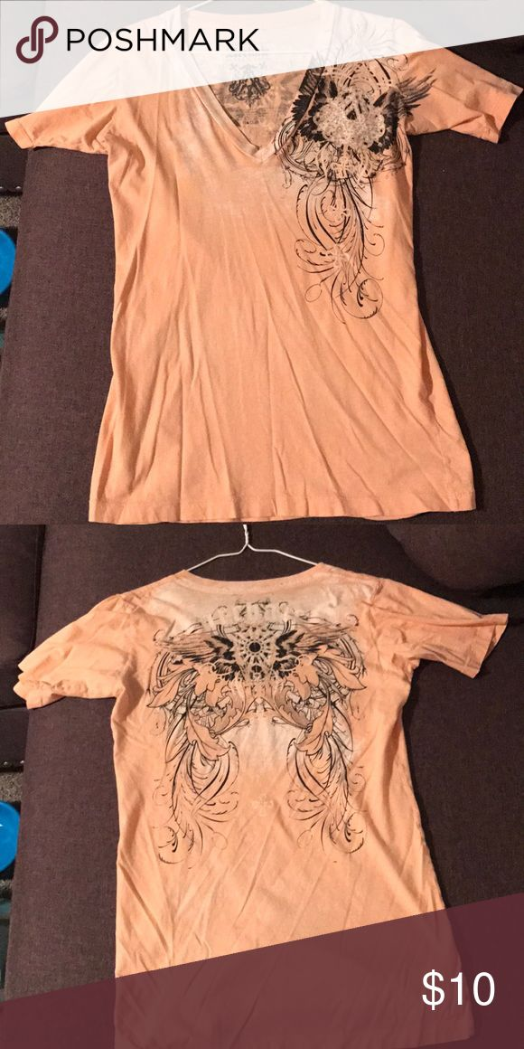 Archair by Affliction L shirt Size L fits more like M I'd say. Light peach color. Affliction Tops Tees - Short Sleeve