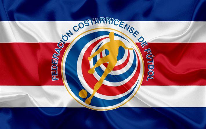 Download wallpapers Costa Rica national football team, logo, emblem, flag Costa Rica, football federation, World Championship, football, silk texture