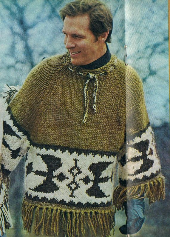 Knit Icelandic Poncho Pullover Man S Knitting Pattern