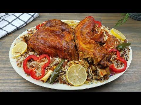 طبخ لحم تيس مفطح مع وصفة رز روعه Roasted Goat Recipe With Rice Youtube Middle Eastern Recipes Goat Recipes Recipes