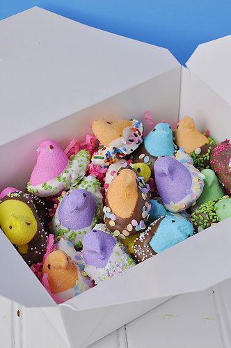 Chocolate dipped Peeps with sprinkles and candies. Cute Easter present idea