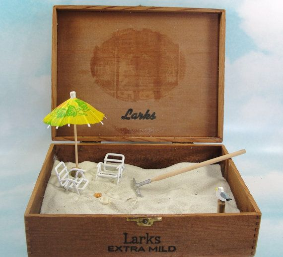 miniature zen beach garden in cigar box by EnchantingGardenArt