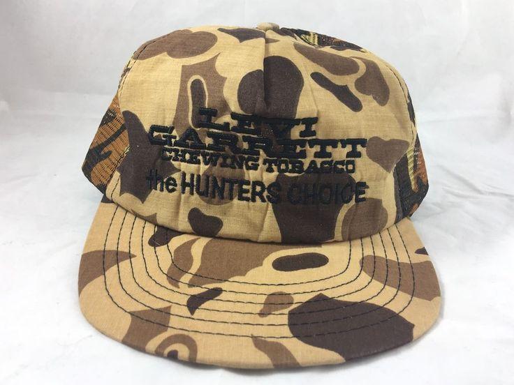 Vintage Levi Garrett Chewing Tobacco Hunter Trucker Snapback Adjustable Hat Camo  | eBay