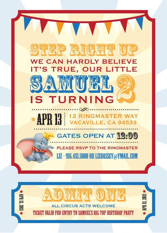 Dumbo Circus Personalized Birthday Invitation by LizBasseyStudios