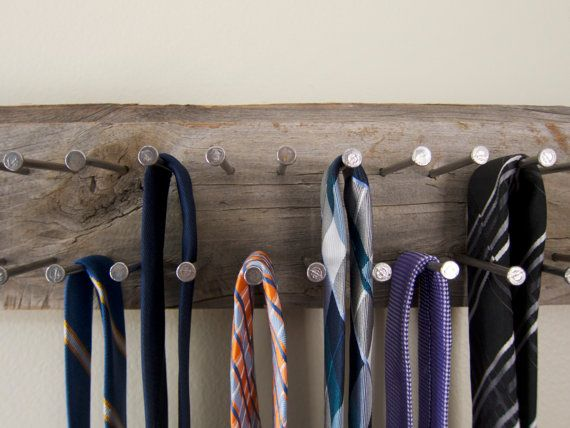 DIY - old wood and nails. Tie Rack from Reclaimed Wood Tie Holder by MyFiresideMuse on Etsy