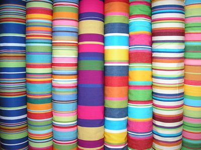 Funky Brightly Coloured Striped Curtain Fabrics Striped
