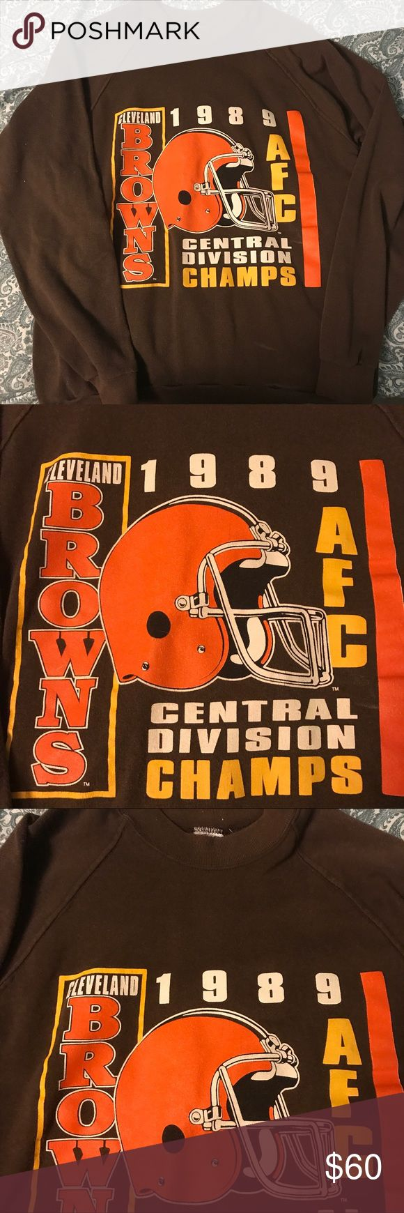Vintage Cleveland Browns crew neck ✨✨✨ This is a one of a kind piece for any Cleveland Browns fan! 1989 AFC championship crew neck. Excellent vintage condition. It is worn in the best way that it is soft and snuggly. Wear this with some leggings for a comfy on trend look. No tag but fits like a large. Would fit all sizes up to XL depending on the look you're going for! NFL Tops Sweatshirts & Hoodies