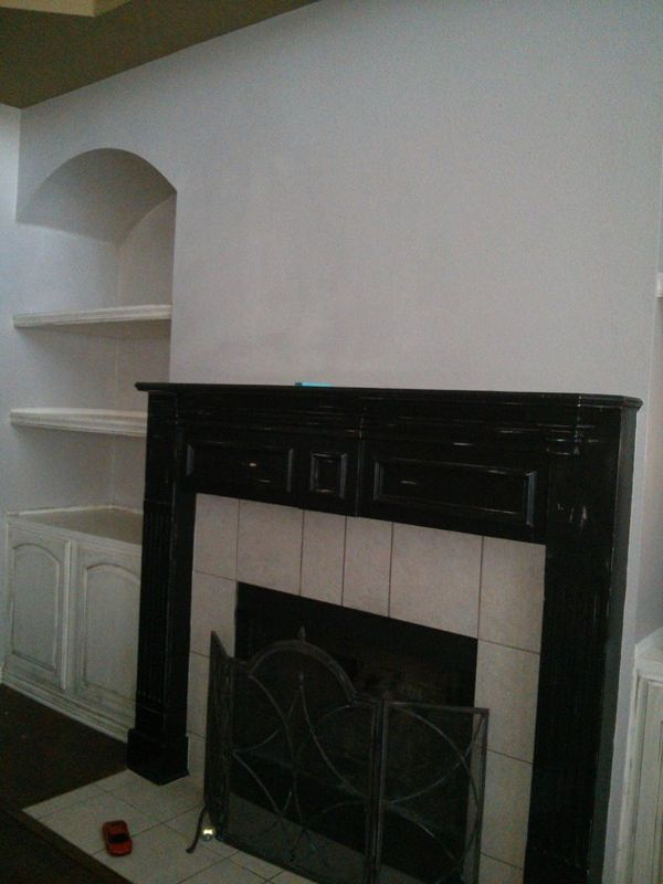 chalk painted fireplace mantel, chalk paint, fireplaces mantels, home decor, painting, Before