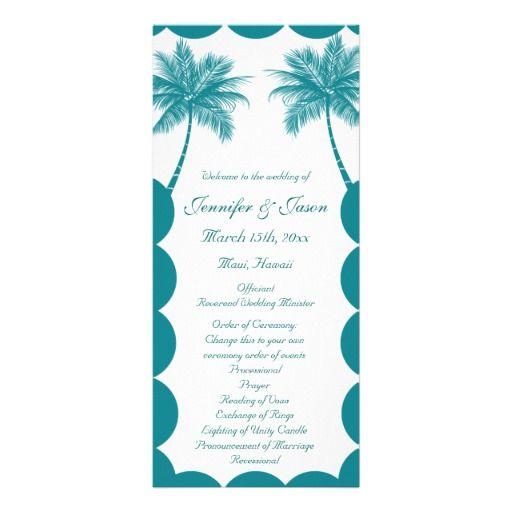 Palm Trees Tropical Teal Beach Wedding Programs