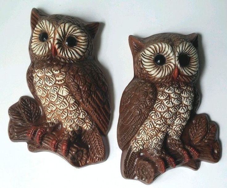 Vintage homco owl wall plaques set of 2 home interior foam brown cream