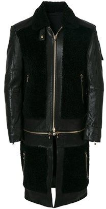 Balmain Men's Black Leather Coat.