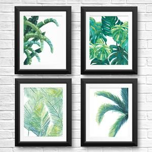 4 Tropical Wall Art Leaf Prints – Banana, Palm, Monstera, and Fern